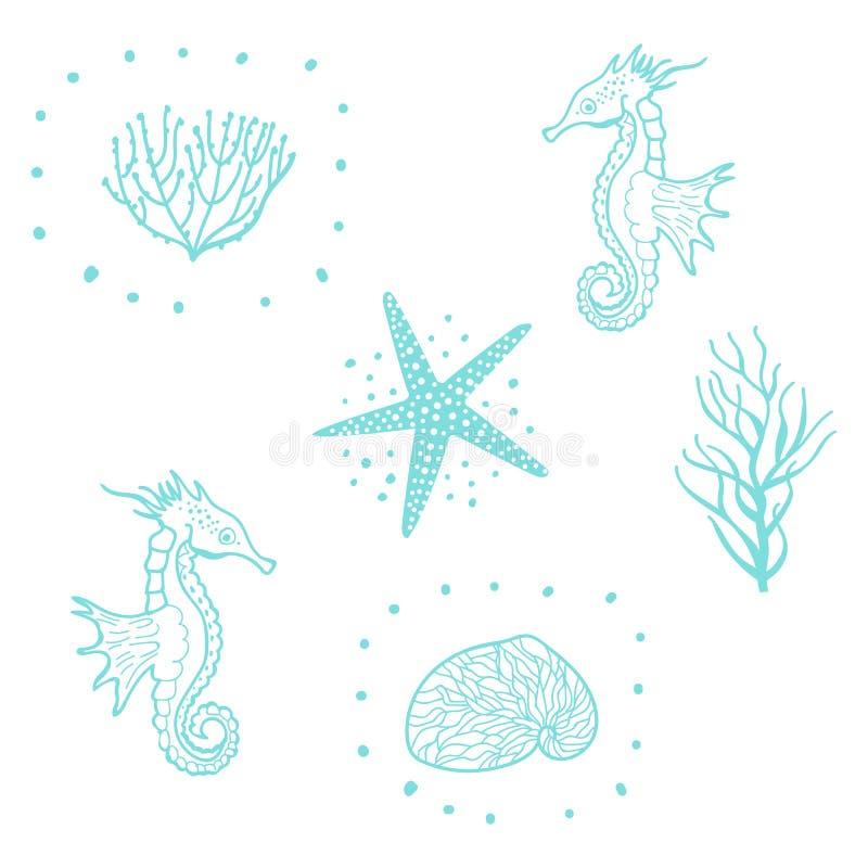 Modelo inconsútil con las estrellas de mar, las conchas marinas y el caballo de mar Vector inconsútil del modelo del mar decorati ilustración del vector