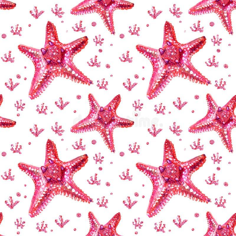 Modelo inconsútil con las estrellas de mar y las algas stock de ilustración