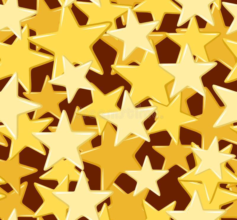 Modelo inconsútil con las estrellas de oro. ilustración del vector