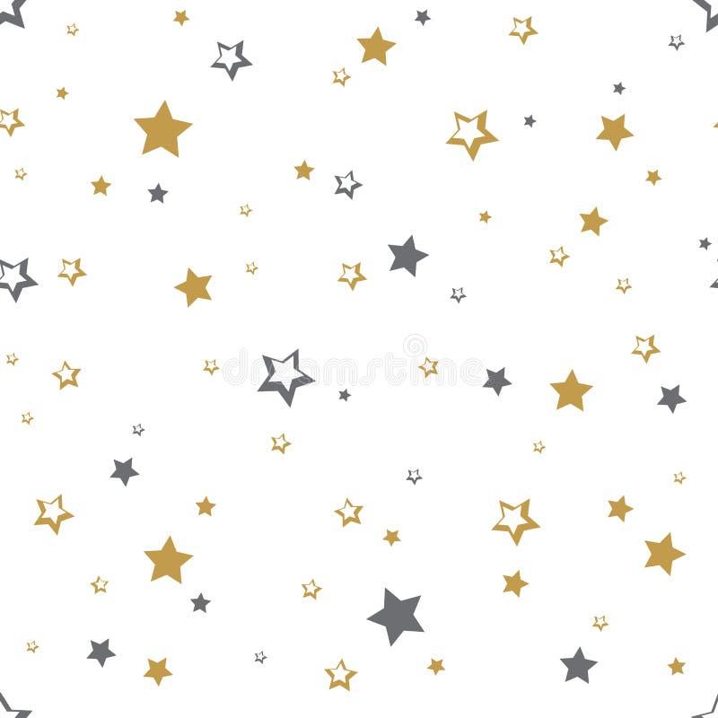 Modelo inconsútil con las estrellas de oro y grises Ilustraci?n del vector ilustración del vector