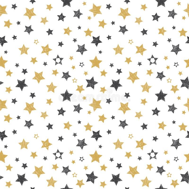 Modelo inconsútil con las estrellas dibujadas mano Fondo con estilo libre illustration