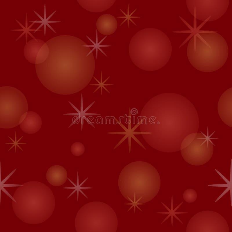 Modelo inconsútil con las estrellas y los copos de nieve en fondo rojo stock de ilustración