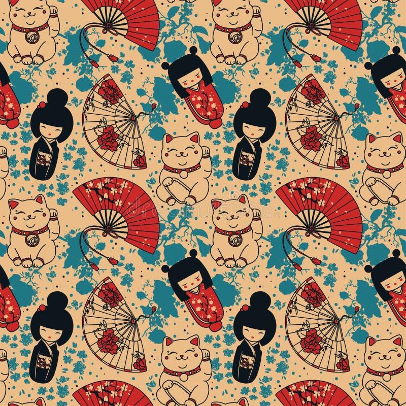 Modelo inconsútil con las fans del papel de la mano del souvenirs^, las muñecas del kokeshi, neko del maneki y las flores asiátic stock de ilustración