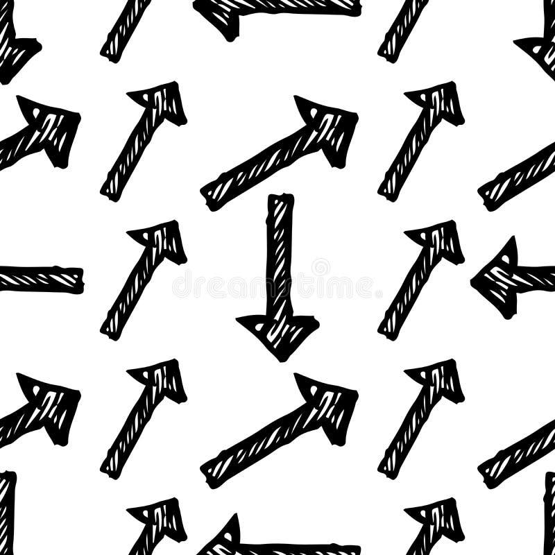 Modelo inconsútil con las flechas exhaustas de la mano negra libre illustration