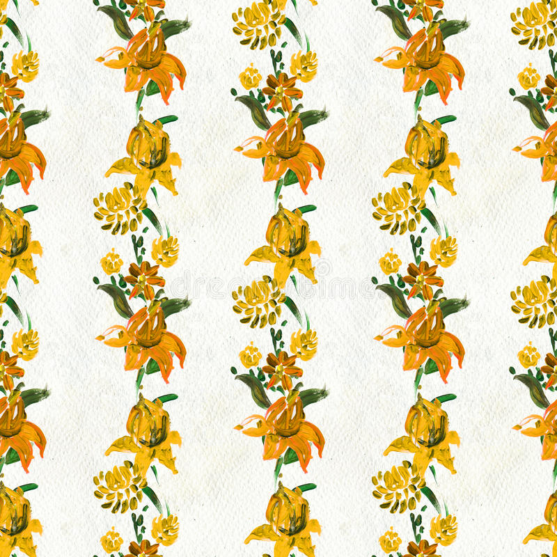 Modelo inconsútil con las flores amarillas stock de ilustración