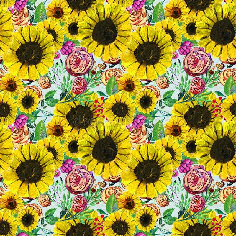 Modelo inconsútil con las flores amarillas y rosadas azules stock de ilustración