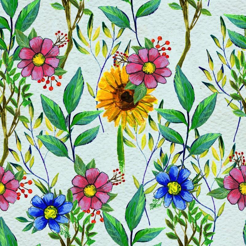 Modelo inconsútil con las flores amarillas y rosadas azules libre illustration