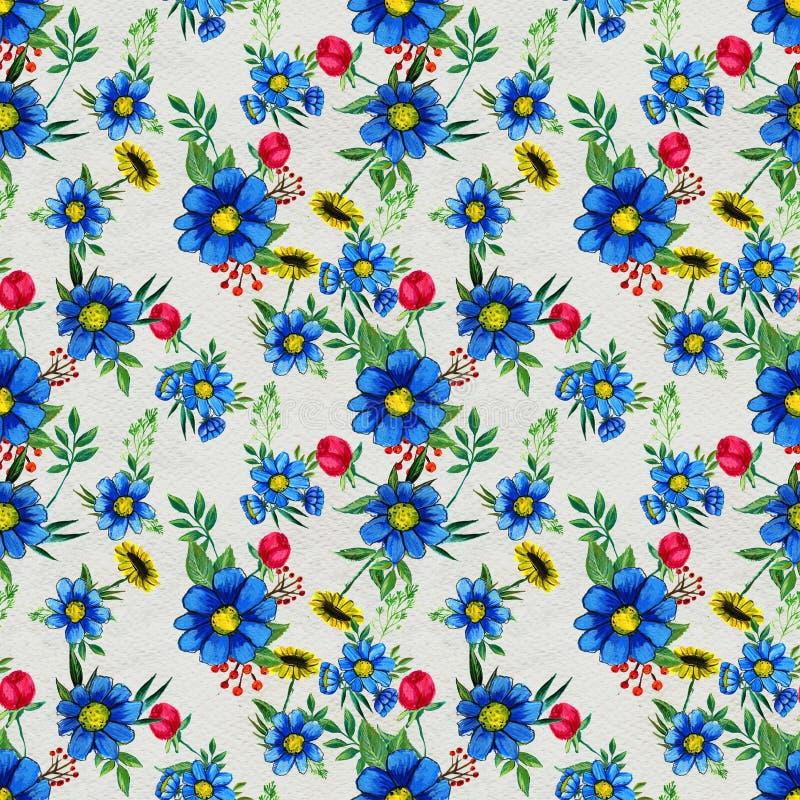 Modelo inconsútil con las flores azules stock de ilustración