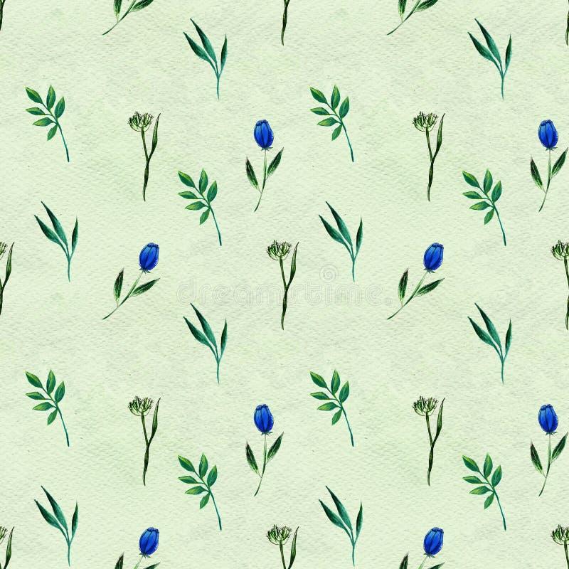 Modelo inconsútil con las flores azules ilustración del vector