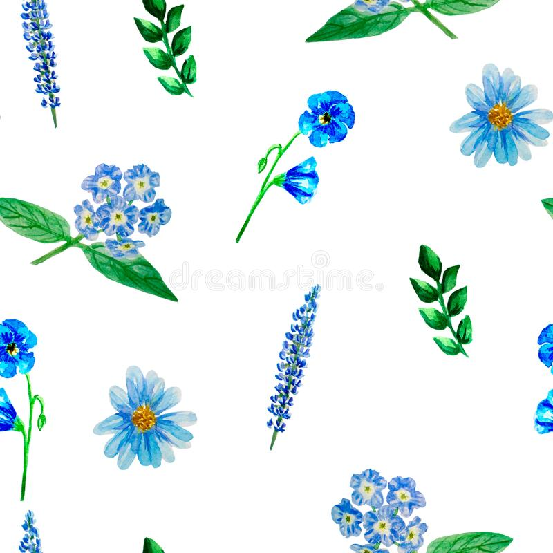Modelo inconsútil con las flores azules, aster, lino, lupine, heliótropo de la acuarela, aislado libre illustration