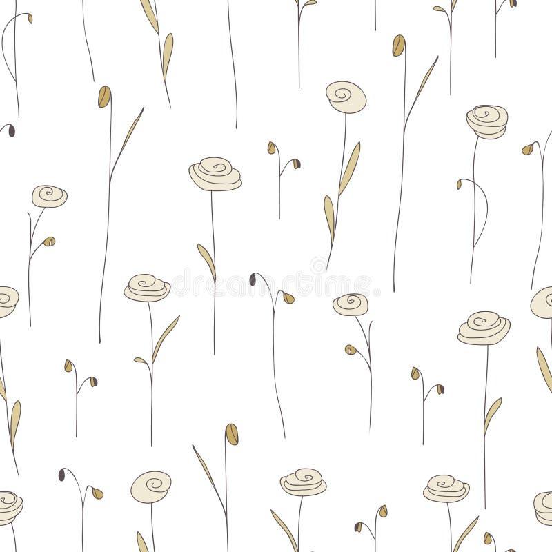 Modelo inconsútil con las flores beige lindas Fondo blanco con las rosas del garabato ilustración del vector