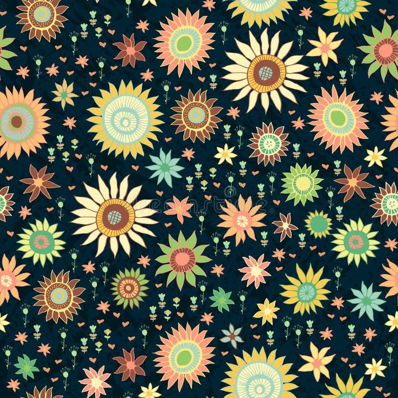 Modelo inconsútil con las flores brillantes adornadas ilustración del vector