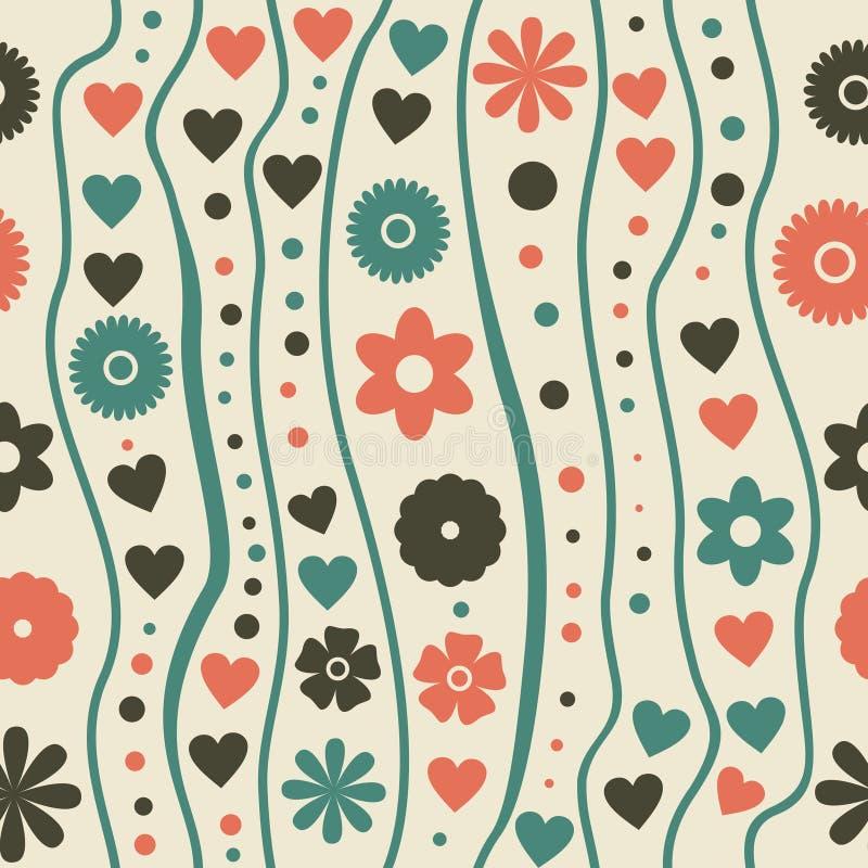 Modelo inconsútil con las flores cobardes retras del doodle libre illustration