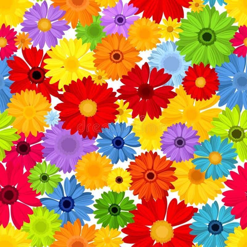 Modelo inconsútil con las flores coloridas del gerbera Ilustración del vector stock de ilustración