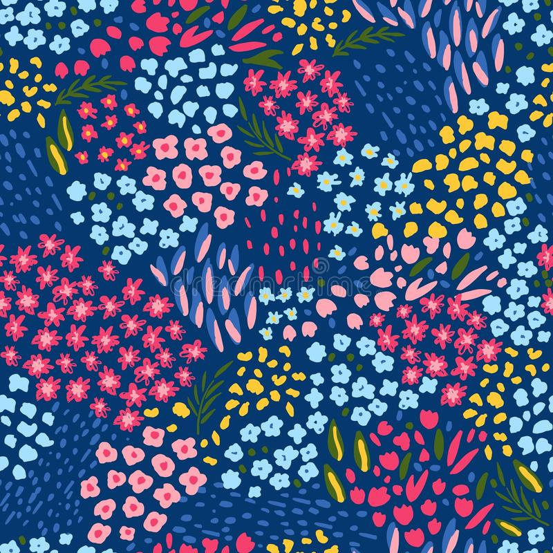 Modelo inconsútil con las flores coloridas Estampado de flores sin fin de moda en vector ilustración del vector