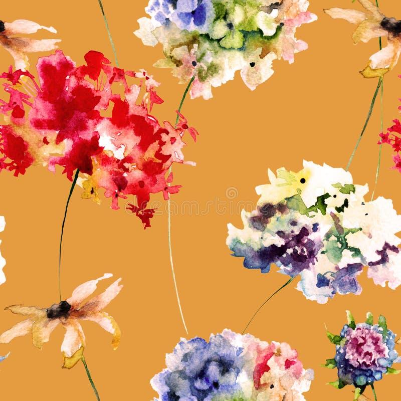 Modelo inconsútil con las flores de Gerber y de la hortensia ilustración del vector