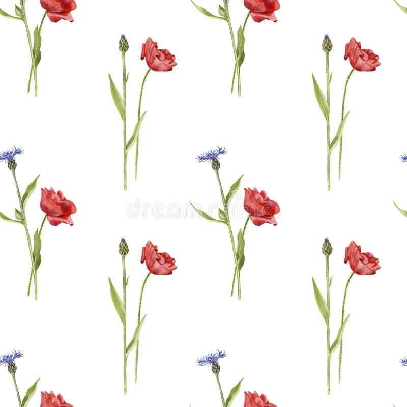 Modelo inconsútil con las flores de la acuarela ilustración del vector