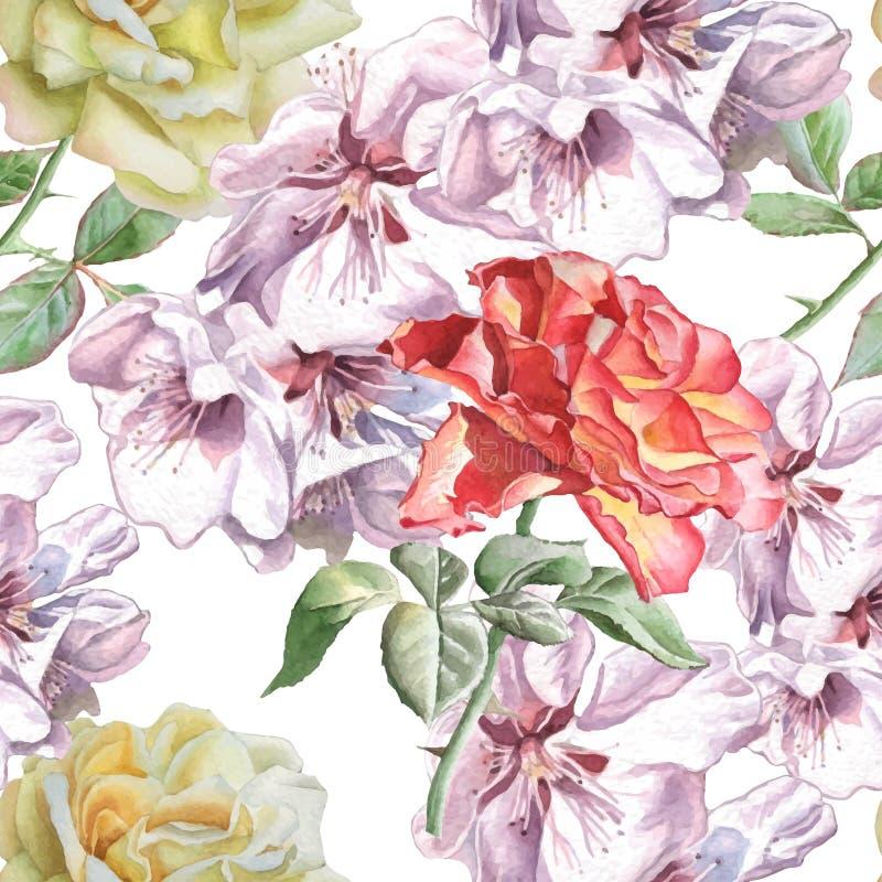 Modelo inconsútil con las flores de la acuarela imagen de archivo