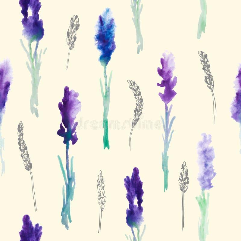 Modelo inconsútil con las flores de la lavanda de la acuarela stock de ilustración