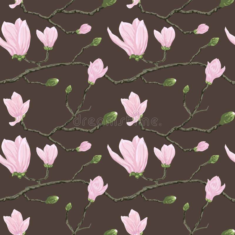 Modelo inconsútil con las flores de la magnolia ilustración del vector