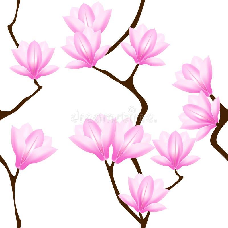 Modelo inconsútil con las flores de la magnolia stock de ilustración