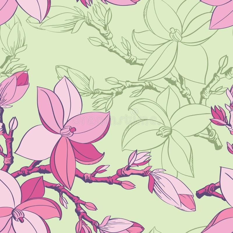 Modelo inconsútil con las flores de la magnolia del gráfico ilustración del vector
