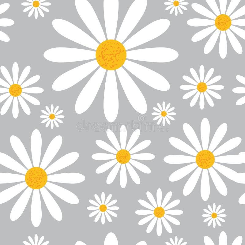 Modelo inconsútil con las flores de la manzanilla en Grey Background Beautiful Floral Ornament ilustración del vector