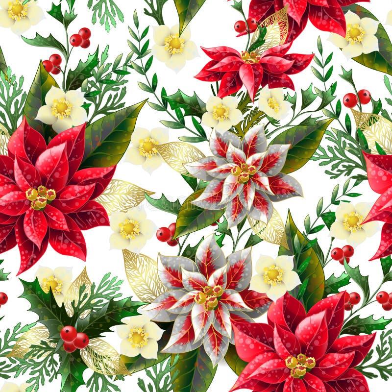 Modelo inconsútil con las flores de la Navidad Vector, ilustración del vector
