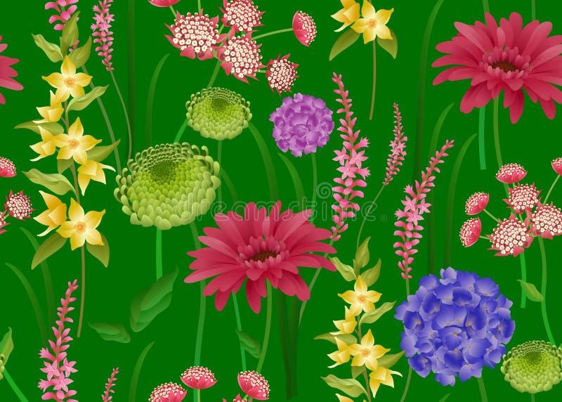 Modelo inconsútil con las flores de la primavera en fondo verde stock de ilustración