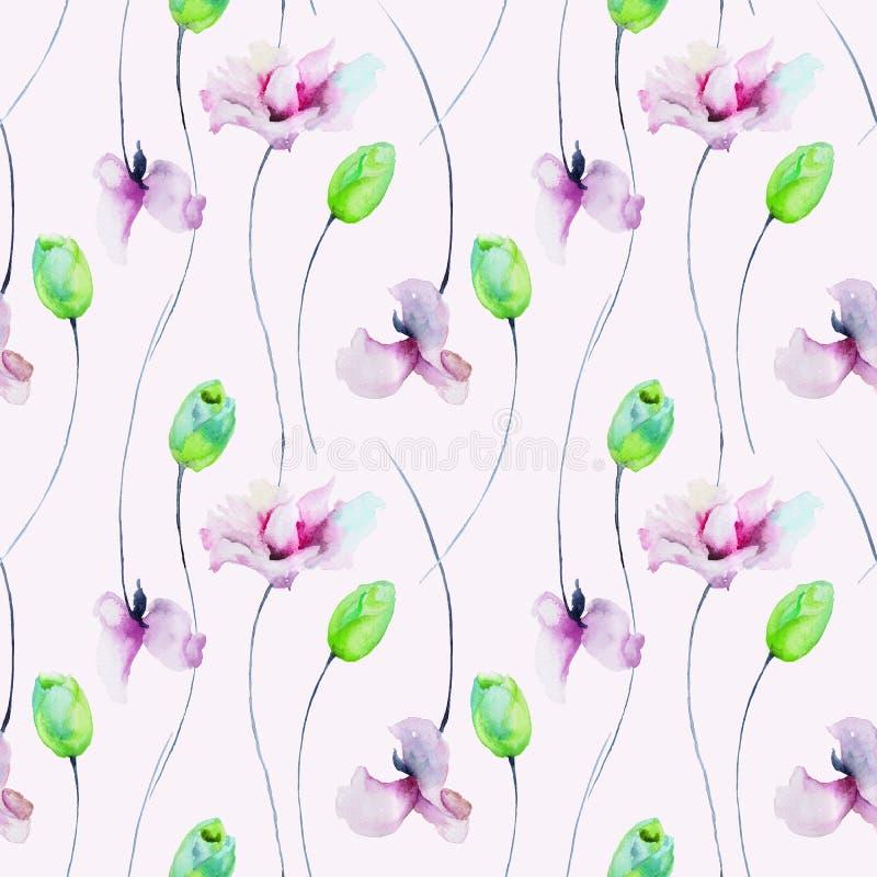 Modelo inconsútil con las flores de los tulipanes y del guisante de olor ilustración del vector