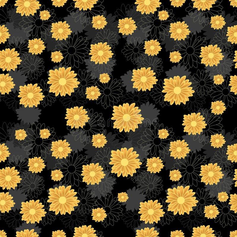 Modelo inconsútil con las flores de oro de la margarita en fondo negro ilustración del vector