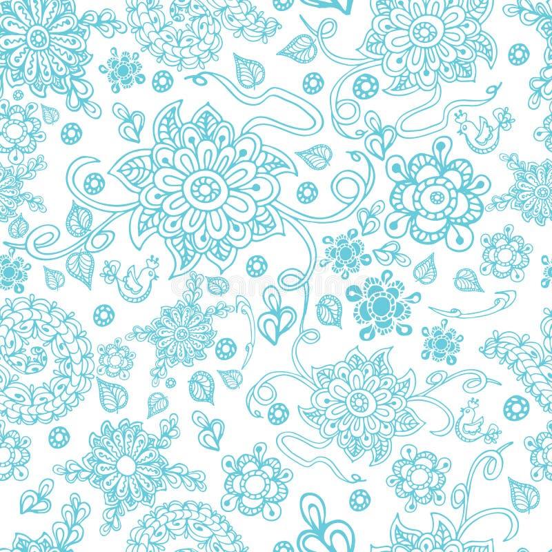 Modelo inconsútil con las flores del doodle Zentangle ilustración del vector