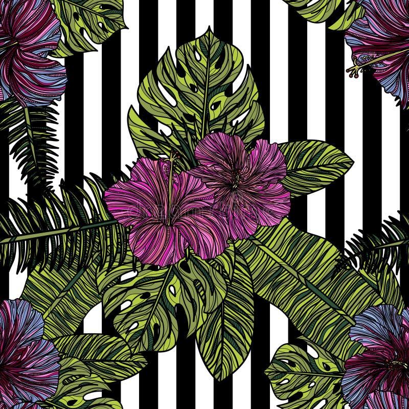 Modelo inconsútil con las flores del hibisco libre illustration