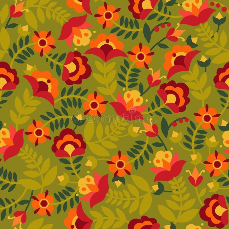 Modelo inconsútil con las flores en colores verdes, rojos, anaranjados y amarillos Fondo con formas planas Textura en estilo del  libre illustration