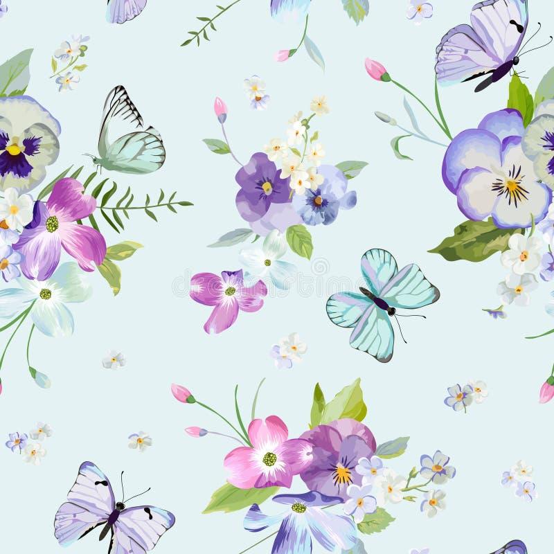 Modelo inconsútil con las flores florecientes y las mariposas que vuelan en estilo de la acuarela Belleza en naturaleza Fondo par ilustración del vector