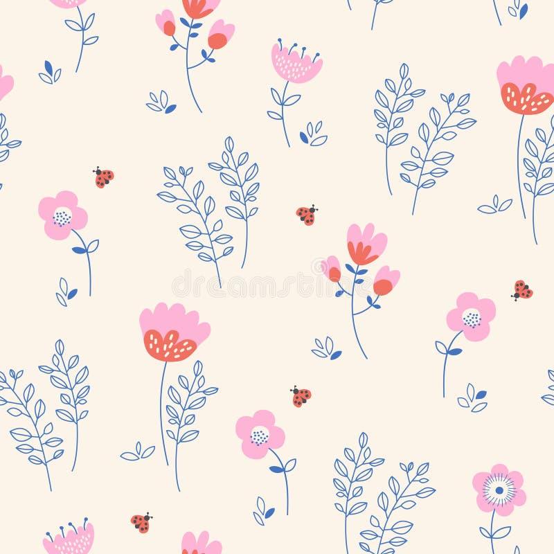 Modelo inconsútil con las flores, las hojas y las mariquitas stock de ilustración