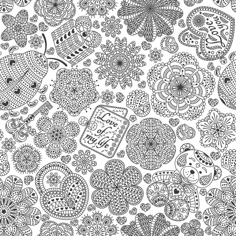 Modelo inconsútil con las flores, los corazones, las tarjetas, el oso, el regalo, la llave y la mariquita Mande un SMS al amor us ilustración del vector