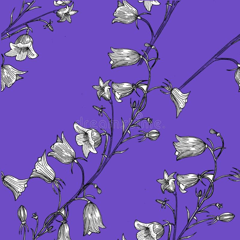 Modelo inconsútil con las flores Mano drenada stock de ilustración