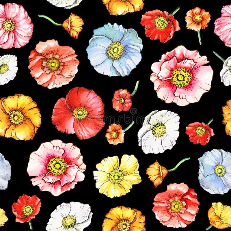 Modelo inconsútil con las flores multicoloras de la amapola libre illustration