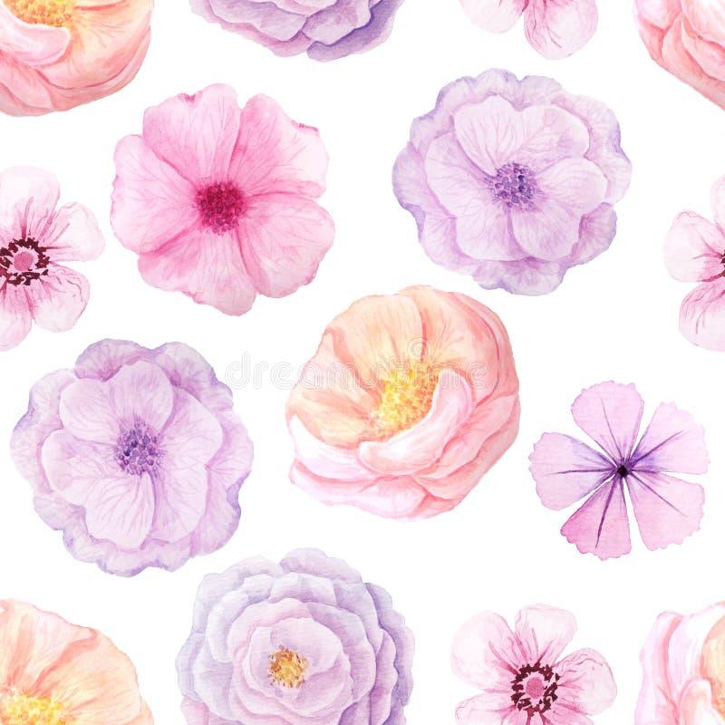 Modelo inconsútil con las flores rosadas ilustración del vector