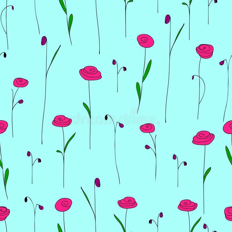 Modelo inconsútil con las flores rosadas brillantes Fondo azul con las rosas estilizadas del garabato libre illustration