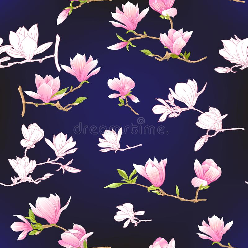 Modelo inconsútil con las flores rosadas de la magnolia Ilustración del vector stock de ilustración