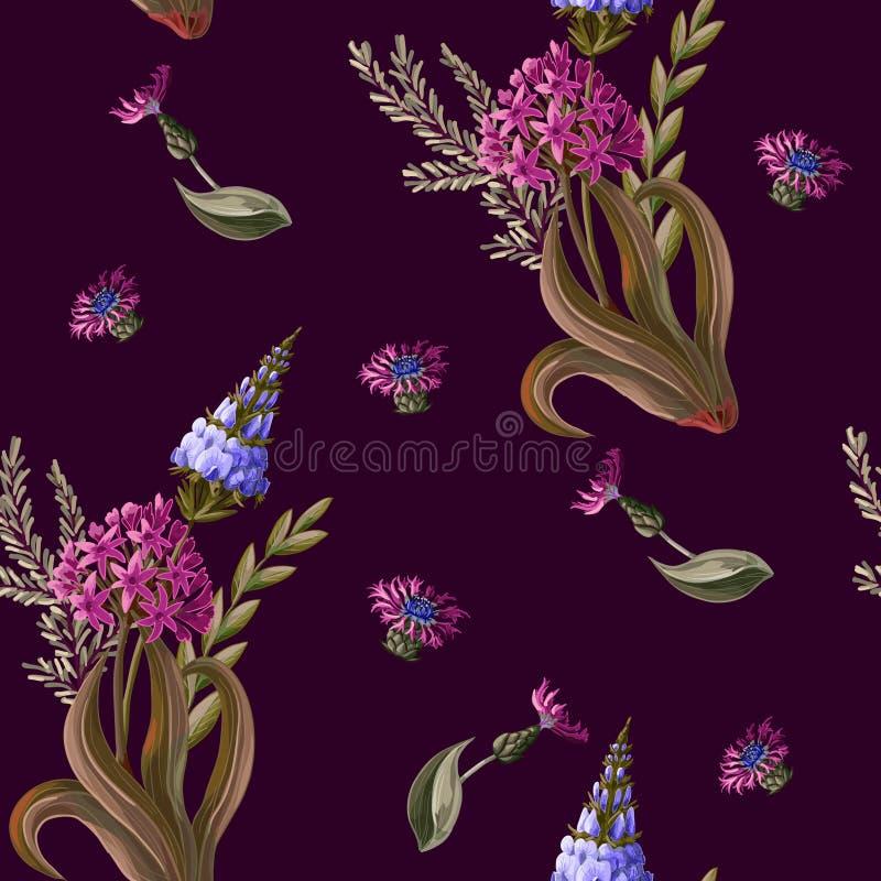 Modelo inconsútil con las flores salvajes en un fondo oscuro Ilustración del vector libre illustration