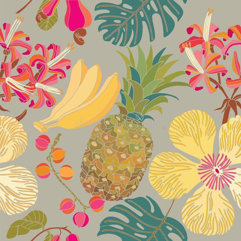 Modelo inconsútil con las flores tropicales ilustración del vector