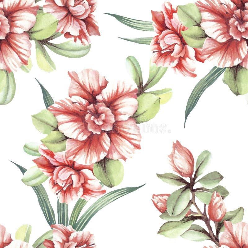 Modelo inconsútil con las flores tropicales Ilustración de la acuarela stock de ilustración