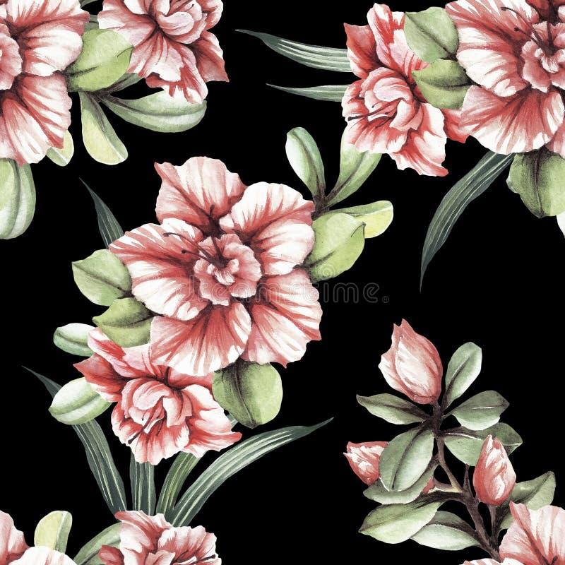 Modelo inconsútil con las flores tropicales Ilustración de la acuarela ilustración del vector