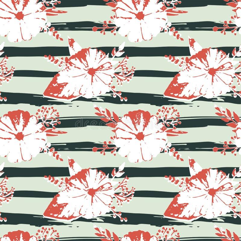 Modelo inconsútil con las flores y las hojas abstractas de la acuarela en rayas en estilo sucio ilustración del vector