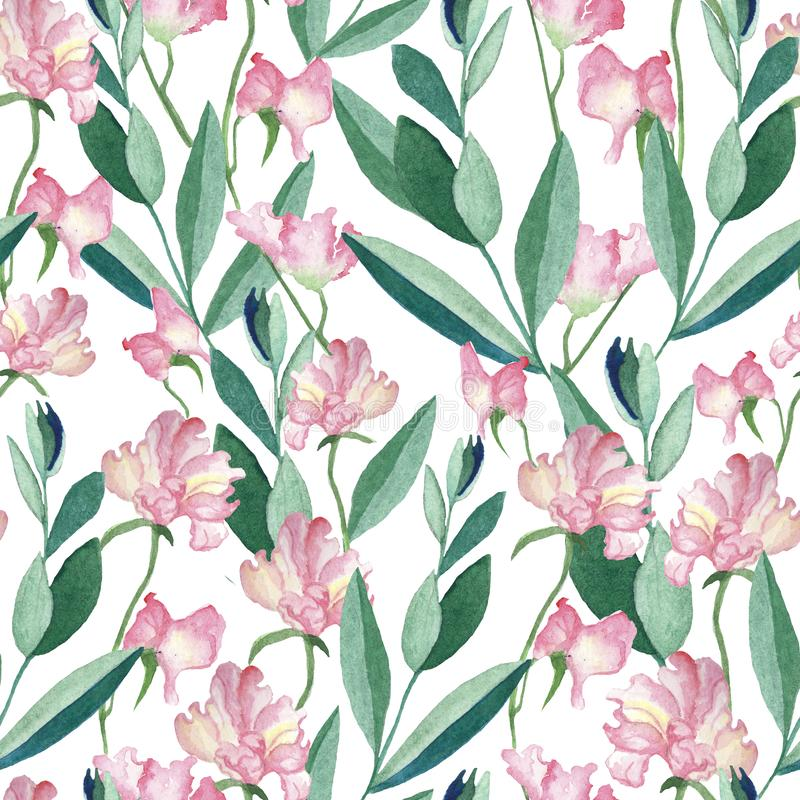 Modelo inconsútil con las flores y las hojas de la acuarela stock de ilustración