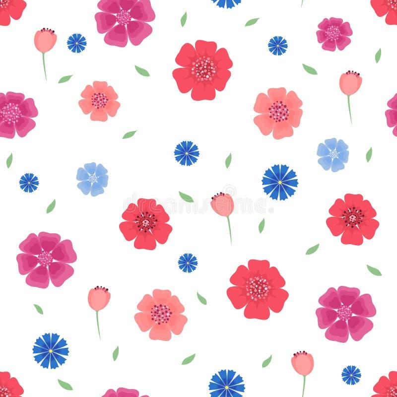 Modelo inconsútil con las flores y las hojas en el fondo blanco libre illustration