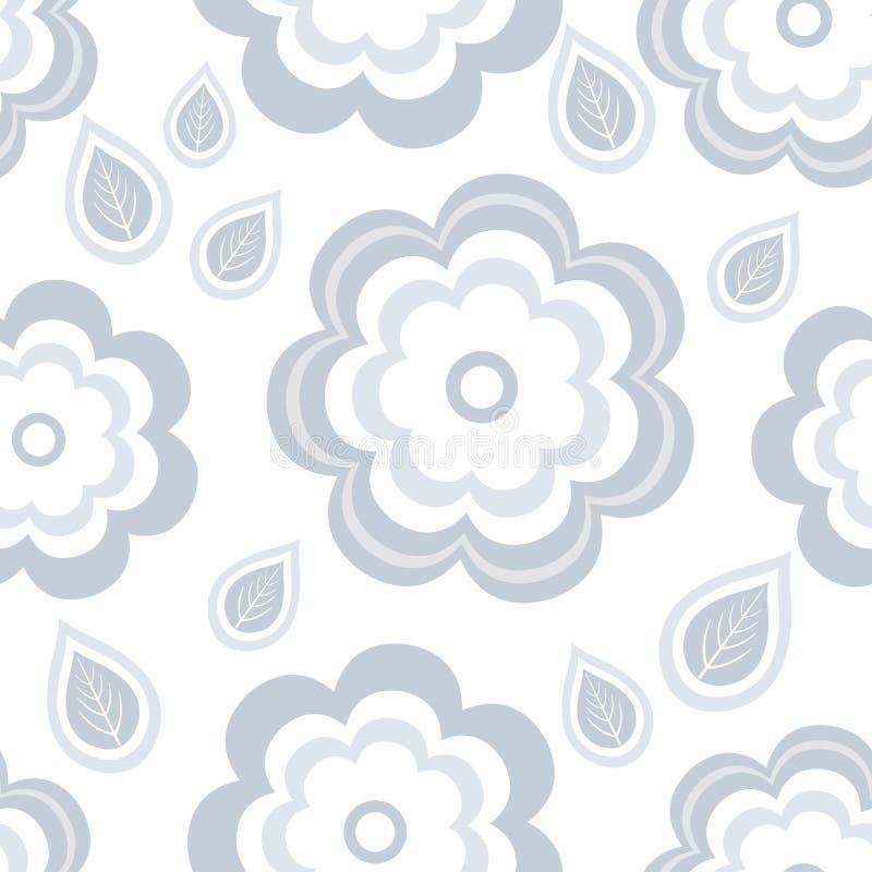 Modelo inconsútil con las flores y las hojas grises estilizadas ilustración del vector